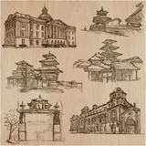 Architecture around the World - An hand drawn vector pack, collection. - 199183109