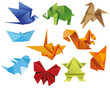 Origami. A set of origami. Set origami butterfly, crane, frog, elephant, horse, ship, sparrow, fox, squirrel. Paper set origami. Vector illustration Eps10 file
