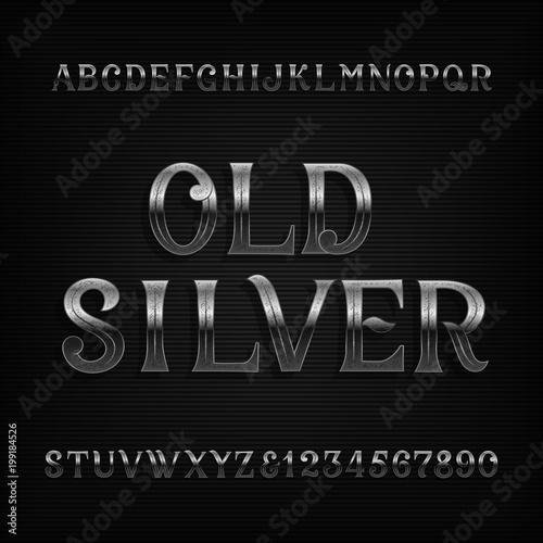 Stara srebrna czcionka alfabetu. Vintage zardzewiałe litery i cyfry metalowe. Wektor zapasowy dla twojego projektu.