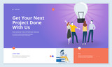 Effective website template design. Modern flat design vector illustration concept of web page design for website and mobile website development. Easy to edit and customize. - 199187384