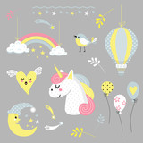 cheerful vector set of cartoon drawings and characters