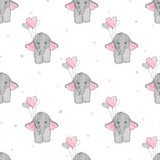Seamless pattern with cute elephants and heart balloons. Vector background for kids design.