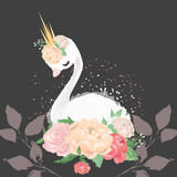 Beautiful white swan princess in crown with floral bouquet of pink and beige peony (peonies) flowers
