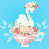 Beautiful white swan princess in crown with tied bow and floral bouquet of pink and beige peony (peonies) flowers in the porcelain pink vintage tea cup (teacup)