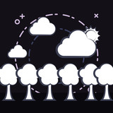 trees and clouds with sun over black background, vector illustration
