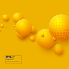 Abstract floating spheres background. 3d yellow balls. Vector illustration.