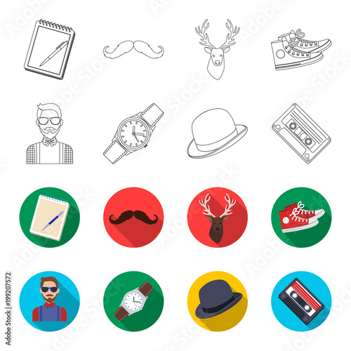 Plexiglas Hipster Hert Hipster, fashion, style, subculture .Hipster style set collection icons in outline,flet style vector symbol stock illustration web.