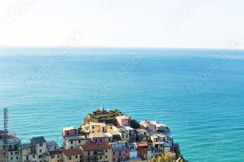 Fotobehang Liguria Colorful houses of Manarola town, Cinque Terre national park, Liguria, Italy