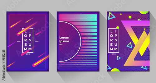 Fotobehang Violet Neon abstract retro backgrounds. With different shapes on poster