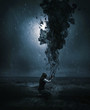 Woman and dark cloud