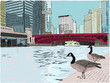 Lovely hand drawn vector illustration of two cute geese standing along the Chicago River, downtown, with skyscrapers all around.