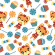 Seamless pattern of girl fox and candies vector cartoon illustration for kid wrapping paper, kid fabric clothes, and wallpaper - 199226387