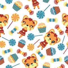Seamless pattern of girl fox and candies vector cartoon illustration for kid wrapping paper, kid fabric clothes, and wallpaper