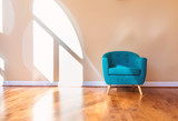 Large luxury interior home with turquoise chair - 199228998