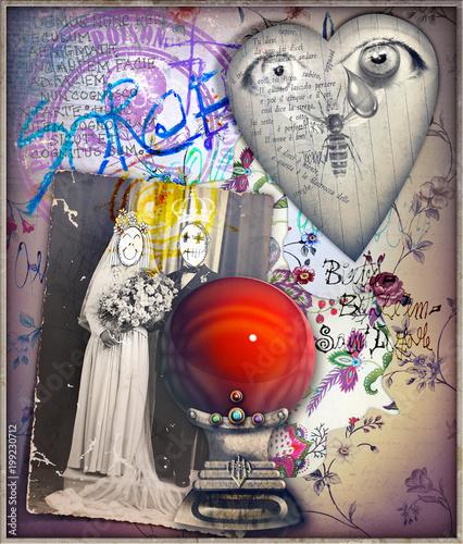 Fotobehang Imagination Sfondo surreale con palla di cristallo,cuore e vecchia fotografia