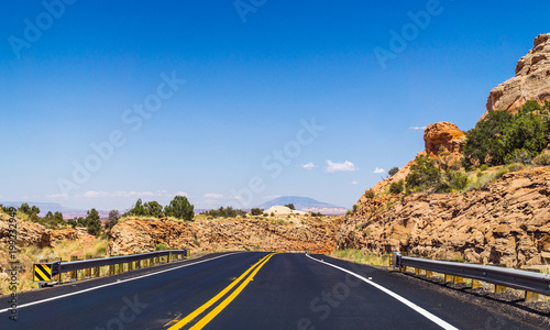 Fotobehang Route 66 New asphalted highway in Arizona. Journey to the Southwest of the USA