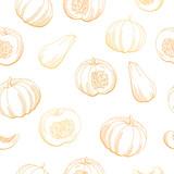Pumpkin color orange graphic seamless pattern sketch background illustration vector - 199236111
