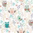 Vector seamless pattern with owls and flowers - 199244937