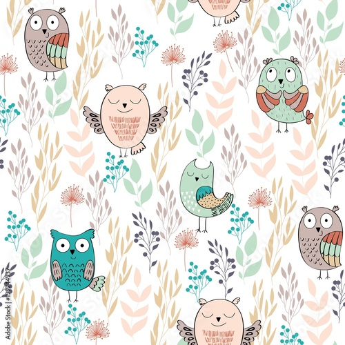 Vector seamless pattern with owls and flowers
