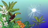 Summer tropical vector design for banner or flyer with banana palms, flowers and toucan.