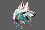 The head of a wolf. polygon style. low poly