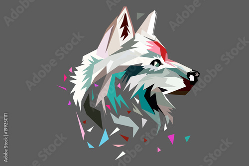 Fototapeta The head of a wolf. polygon style. low poly