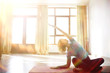 girl pilates / young beautiful girl in the gym engaged in yoga and pilates, sport concept health and beauty