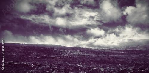 Poster Aubergine Scenic view of landscape