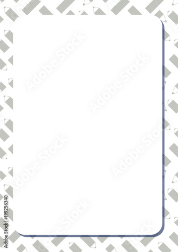 Blank white frame on background with set of cute cartoon pencils.