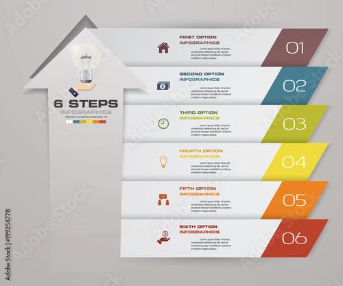 6 steps of arrow Infografics template. for your presentation. EPS 10.