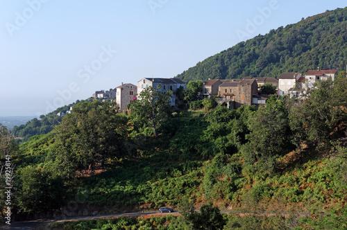 Fotobehang Blauwe hemel village of Costa verde in Corsica mountain
