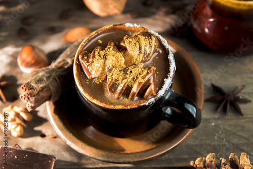 Fotobehang Chocolade Cup of hot chocolate. Mug of traditional winter chocolate drink. Rustic vintage style.