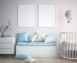 Mock up poster frame in children room, scandinavian style interior background, 3D render - 199262306
