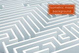 Maze intricacy labyrinth isometric background 3d design template vector illustration - 199264382
