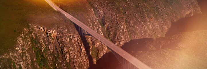 Bridge over mountain on a sunny day
