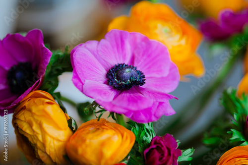 Bright bouquet of Ranunculus and decorative poppies - 199265723