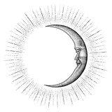 Face in Moon hand drawing vintage engraving money line detail style for tattoo