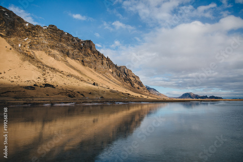 beautiful scenic view of rocky hills reflected in water, iceland, Holtsos - 199268768