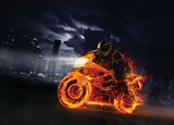 Super-sport fire motorbike with skyscrapers on background - 199274773