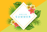 Geometric square summer frame with exotic flowers and palm leaf. Vector illustration for summer and holiday design - 199278566