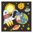 postcard with space objects - 199280114
