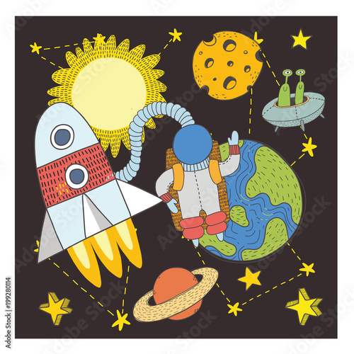 postcard with space objects