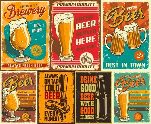 Fotobehang Vintage Poster Set of beer poster