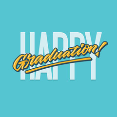 happy graduation lettering typography greeting card poster