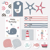 Set of nautical tags, badges for birthday or baby shower party. Vector hand drawn illustration. - 199281312