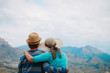 young couple hiking travel in mountains