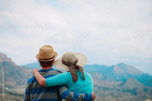 young couple hiking travel in mountains - 199285575