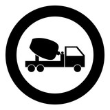 Cement mixers truck icon black color in circle