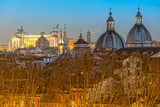 Rome at sunset time with St Peter Cathedral