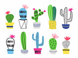 Set of cactus in flowerpots. Vector illustration. - 199293537